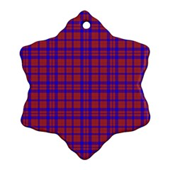 Pattern Plaid Geometric Red Blue Snowflake Ornament (two Sides)