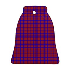 Pattern Plaid Geometric Red Blue Bell Ornament (Two Sides)
