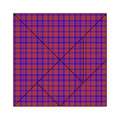 Pattern Plaid Geometric Red Blue Acrylic Tangram Puzzle (6  x 6 )