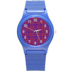 Pattern Plaid Geometric Red Blue Round Plastic Sport Watch (S)