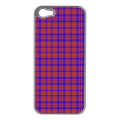 Pattern Plaid Geometric Red Blue Apple iPhone 5 Case (Silver)