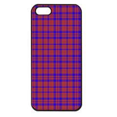 Pattern Plaid Geometric Red Blue Apple Iphone 5 Seamless Case (black)