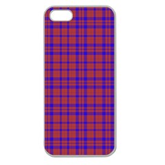 Pattern Plaid Geometric Red Blue Apple Seamless iPhone 5 Case (Clear)