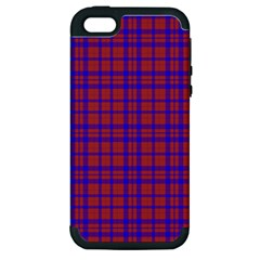 Pattern Plaid Geometric Red Blue Apple iPhone 5 Hardshell Case (PC+Silicone)