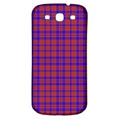 Pattern Plaid Geometric Red Blue Samsung Galaxy S3 S III Classic Hardshell Back Case
