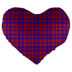 Pattern Plaid Geometric Red Blue Large 19  Premium Heart Shape Cushions