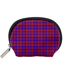 Pattern Plaid Geometric Red Blue Accessory Pouches (small)