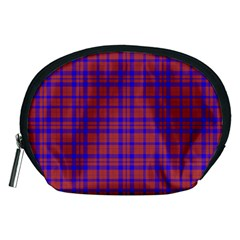 Pattern Plaid Geometric Red Blue Accessory Pouches (Medium)