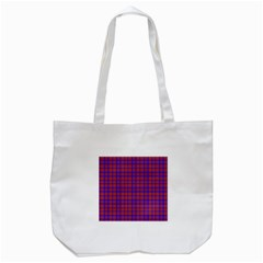 Pattern Plaid Geometric Red Blue Tote Bag (White)