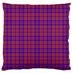 Pattern Plaid Geometric Red Blue Large Flano Cushion Case (Two Sides)