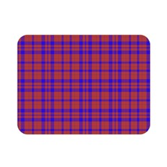 Pattern Plaid Geometric Red Blue Double Sided Flano Blanket (Mini)