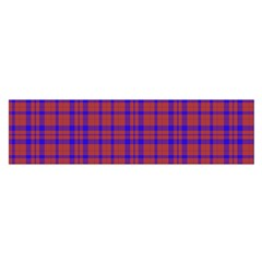 Pattern Plaid Geometric Red Blue Satin Scarf (Oblong)
