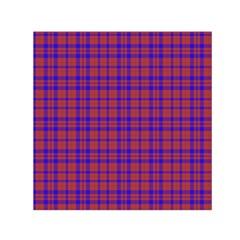 Pattern Plaid Geometric Red Blue Small Satin Scarf (Square)