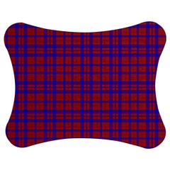 Pattern Plaid Geometric Red Blue Jigsaw Puzzle Photo Stand (Bow)