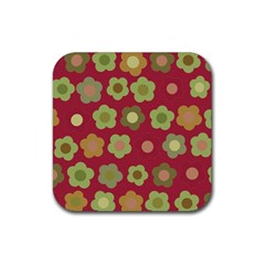 Floral pattern Rubber Square Coaster (4 pack)