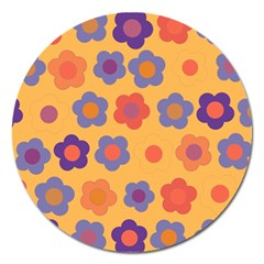 Floral pattern Magnet 5  (Round)