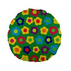 Floral pattern Standard 15  Premium Flano Round Cushions