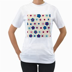 Floral pattern Women s T-Shirt (White) (Two Sided)