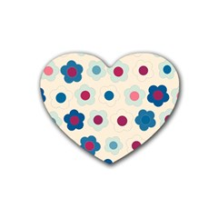 Floral pattern Rubber Coaster (Heart)