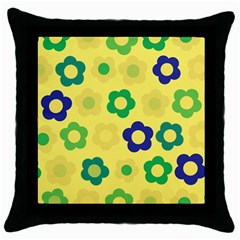 Floral pattern Throw Pillow Case (Black)