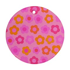 Pink floral pattern Ornament (Round)