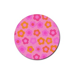 Pink floral pattern Rubber Coaster (Round)