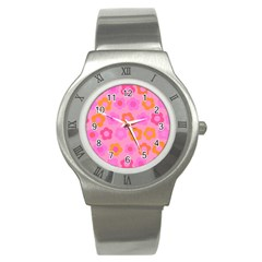 Pink floral pattern Stainless Steel Watch