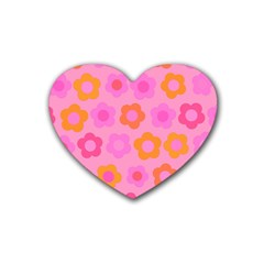 Pink floral pattern Heart Coaster (4 pack)