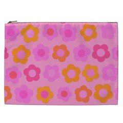 Pink floral pattern Cosmetic Bag (XXL)