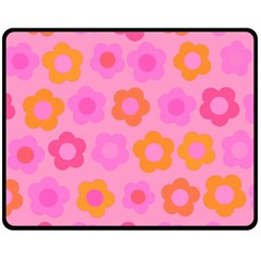 Pink floral pattern Double Sided Fleece Blanket (Medium)