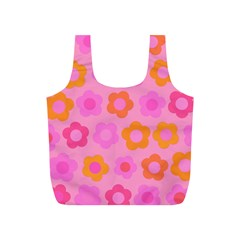 Pink floral pattern Full Print Recycle Bags (S)