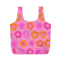 Pink floral pattern Full Print Recycle Bags (M)
