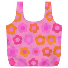 Pink floral pattern Full Print Recycle Bags (L)