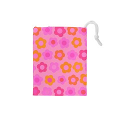 Pink floral pattern Drawstring Pouches (Small)