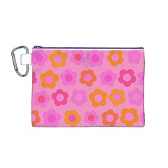 Pink floral pattern Canvas Cosmetic Bag (M)