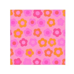 Pink floral pattern Small Satin Scarf (Square)