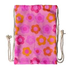 Pink floral pattern Drawstring Bag (Large)