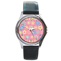 Floral pattern Round Metal Watch