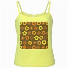 Floral pattern Yellow Spaghetti Tank