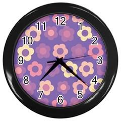 Floral pattern Wall Clocks (Black)
