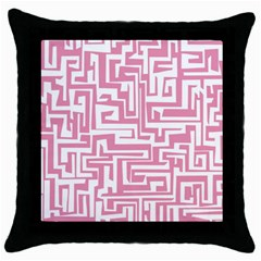 Pink pattern Throw Pillow Case (Black)