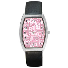 Pink pattern Barrel Style Metal Watch