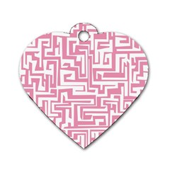 Pink pattern Dog Tag Heart (One Side)