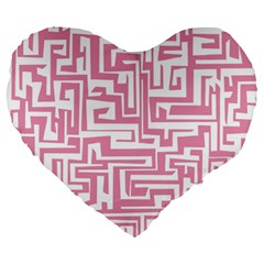 Pink pattern Large 19  Premium Flano Heart Shape Cushions