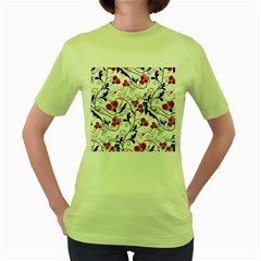 Floral pattern Women s Green T-Shirt