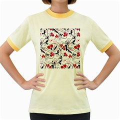 Floral pattern Women s Fitted Ringer T-Shirts