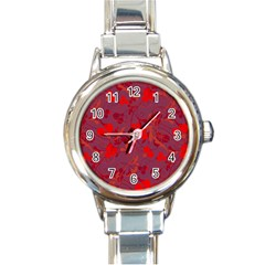 Red floral pattern Round Italian Charm Watch