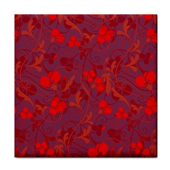 Red floral pattern Tile Coasters