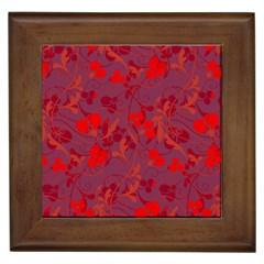 Red floral pattern Framed Tiles