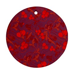 Red floral pattern Ornament (Round)